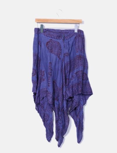 Falda asimetrica azul estampada