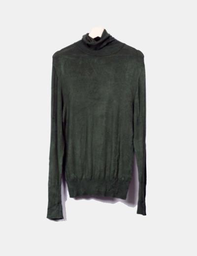 Jersey tricot verde cuello vuelto Atmosphere