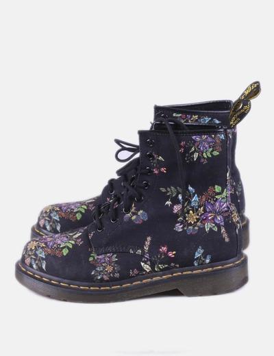 Bottes noires militaires floral Dr. AirWair Martens