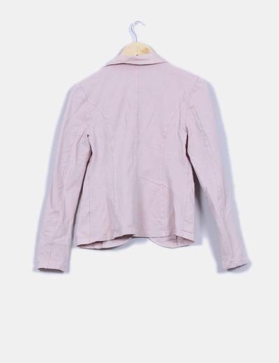 Blazer rosa palo con bolsillos