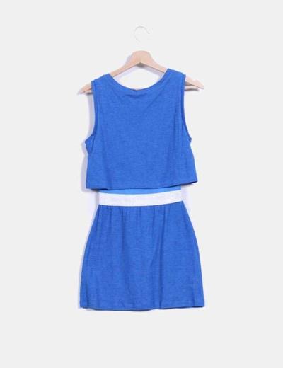 Vestido azul cintura metalizada