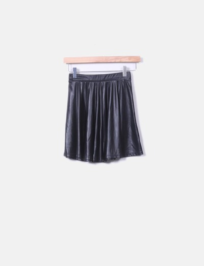 Mini black imitation leather skirt Bershka