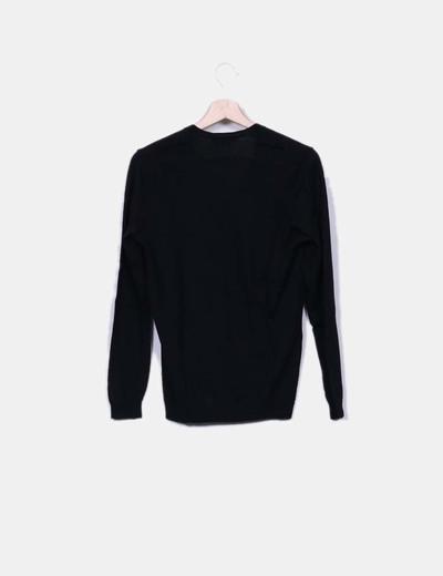 Jersey de punto negro escote pico