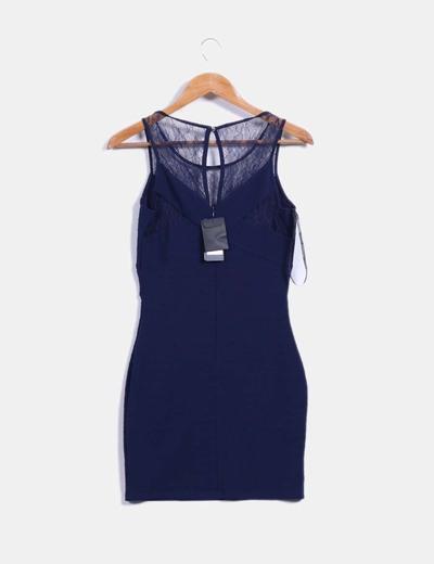 Vestido Azul Marino Ajustado Detalle Encaje