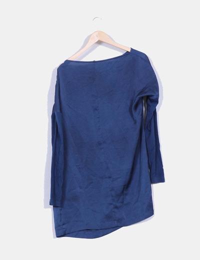 Vestido camisero satinado azul petroleo detalle cremallera