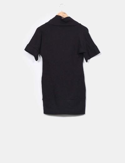 Vestido tricot de manga corta negro