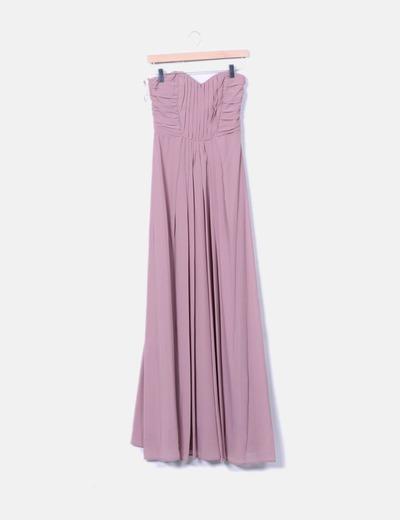 Vestido rosa empolvado palabra de honor H&M