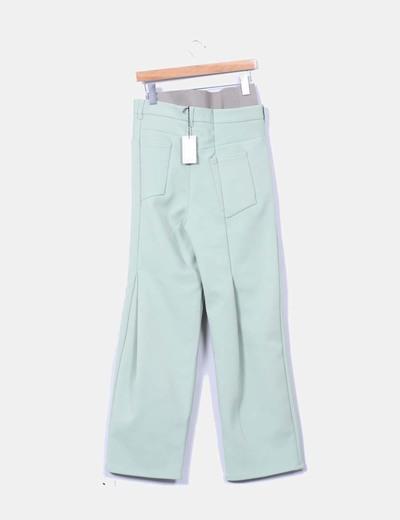 Pantalon verde recto con tiro alto