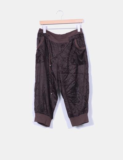 Pantalón bombacho de raso marrón Friday's Project