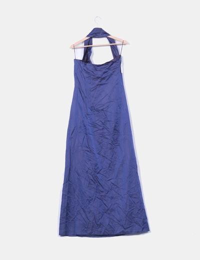 Vestido maxi raso azul marino escote asimetrico
