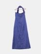 Vestido maxi raso azul marino escote asimétrico CeDosCE