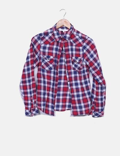 Camisa de cuadros roja y azul marina