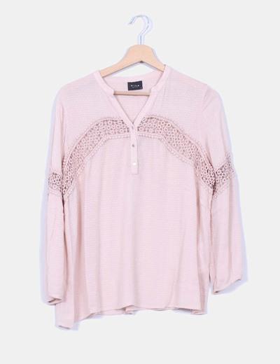 Blusa rosa palo combinado crochet
