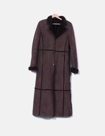 Abrigo doble faz marrón largo
