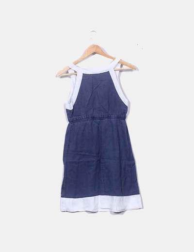 Vestido Azul Marino Bordes Blanco