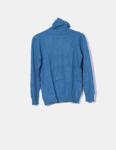 Jersey de punto azul cuello cisne