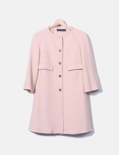 Abrigo fino largo rosa palo