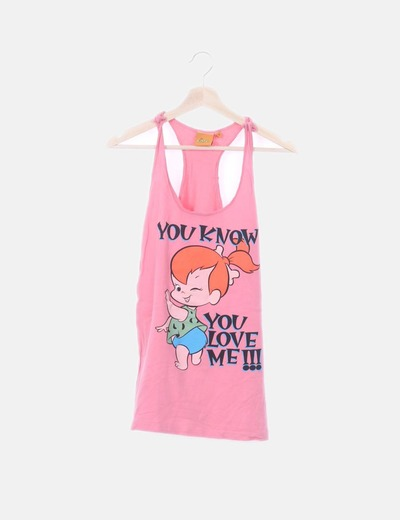 Camiseta rosa tirantes print
