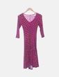 Vestido con vuelo rosa estampado NoName
