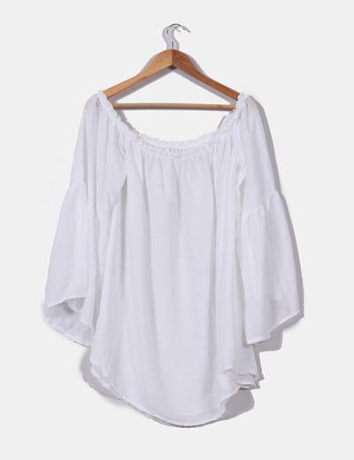 NoName Blusa de chiffon branco ombros nus (desconto de 76%) - Micolet b47bc5864f