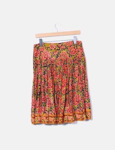 Falda midi floral con lentejuelas
