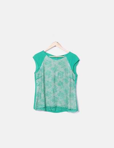 Blusa verde con encaje Massimo Dutti