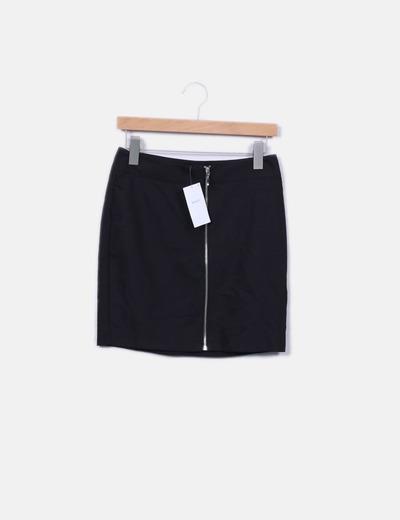 Minifalda negra cremallera