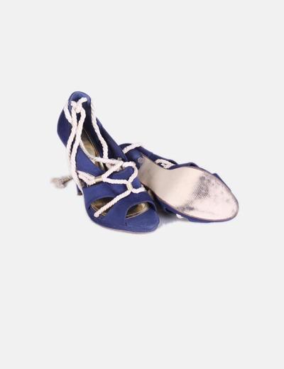 Sandalia azul marina cordones tipo cuerda