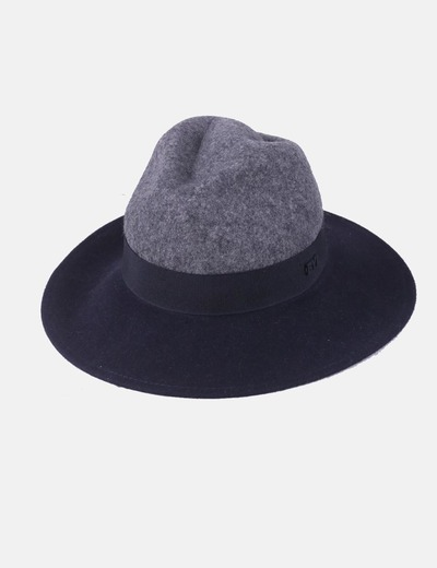 Black and gray hat combined with cloth Bimba&Lola