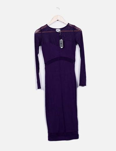 Vestido morado tul combinado Asos