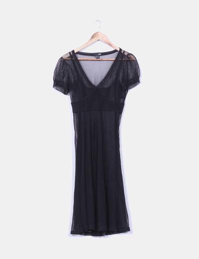 Vestido negro forro interior H&M