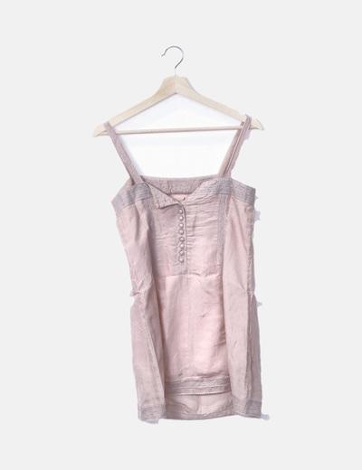 Top lencero rosa palo combinado encaje gris