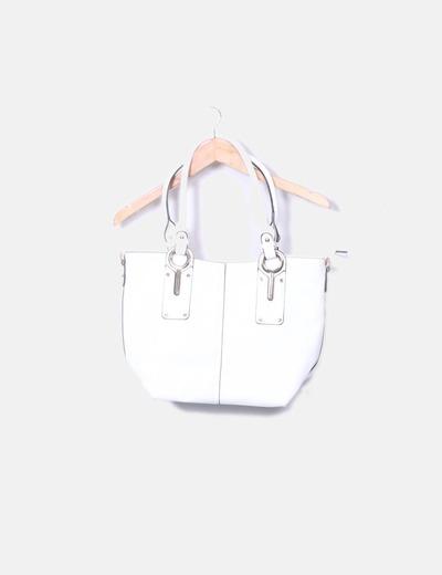 Bolso tote blanco detalles dorados Zara
