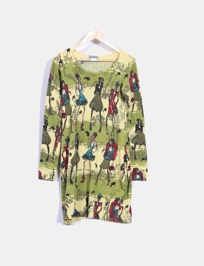 Vestido de punto verde estampado Weissmuller