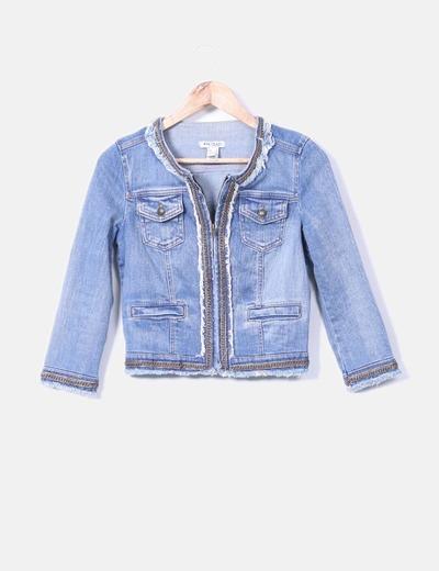 Veste en jeans avec motif et en maille d'effilochage Mango