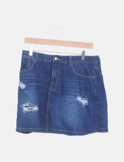 Mini falda azul ripped
