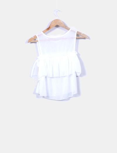 Blusa volantes blanco glitter