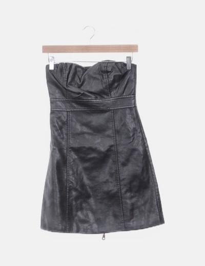 Vestido negro polipiel