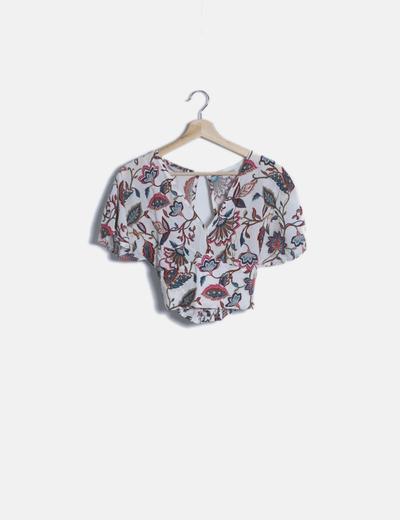 Blusa corta blanca estampado floral