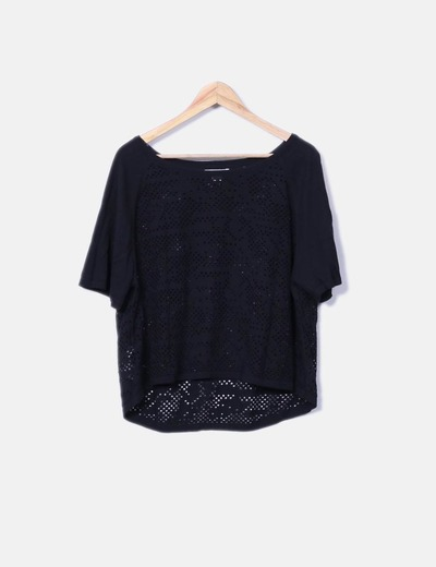 Jersey negro de punto troquelado Suiteblanco