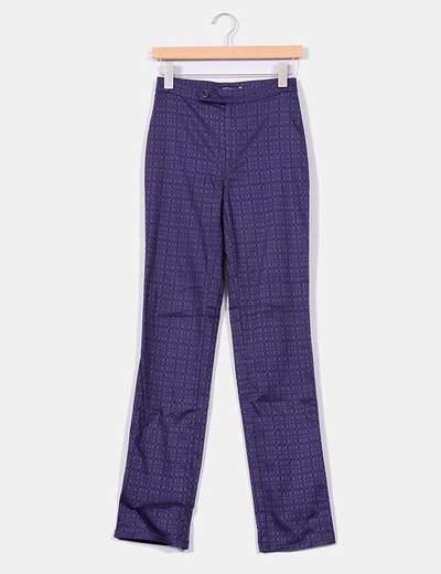 Pantalón morado con estampado de cuadros Kookaï