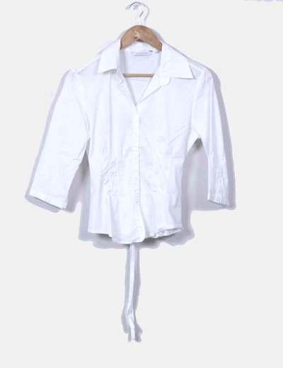 Blusa blanca manga francesa Zara