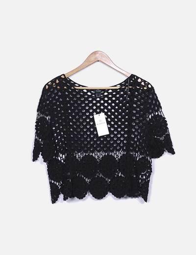 Camiseta negra crochet Suiteblanco
