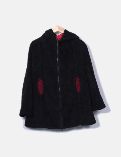 183adc94945 Instinto Abrigo de borrego negro detalle bolsillos (descuento 85 ...