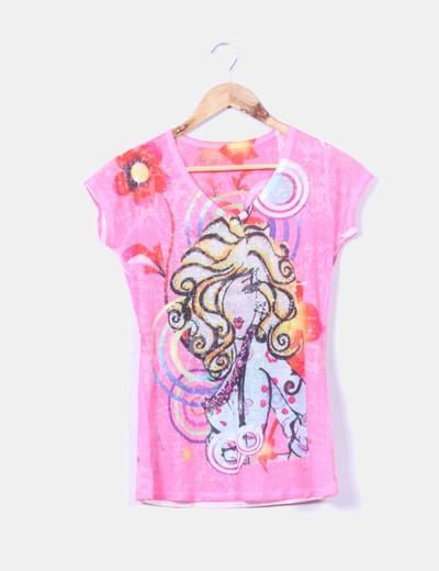 Camiseta rosa chica estampada NoName