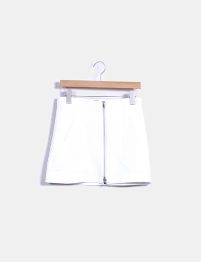 Falda midi blanca texturizada Zara