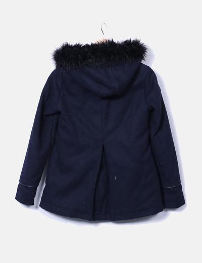 32d419eb1c0 Pimkie Abrigo texturizado azul marino combinado con pelo en la capucha  (descuento 69%) - Micolet