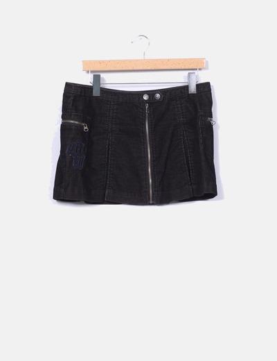Mini falda negra de pana Mioko