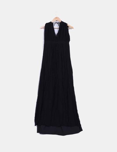 Maxi vestido negro de gasa