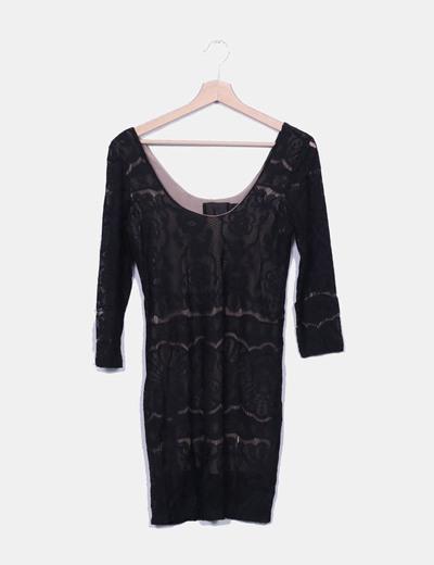 Vestido crochet negro